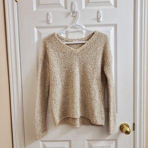 Knit beige v-neck long sleeve Garage sweater S